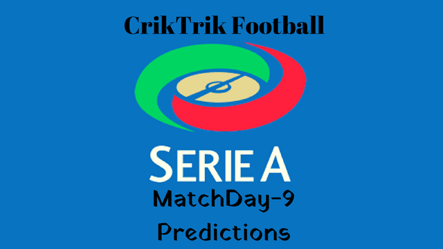 serie a md 9 today match prediction